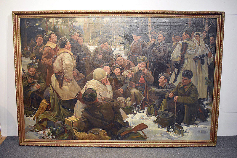 673. After Yuri Mikhailovich Neprintsev Oil on Canvas. Resting after the Battle. | $615
