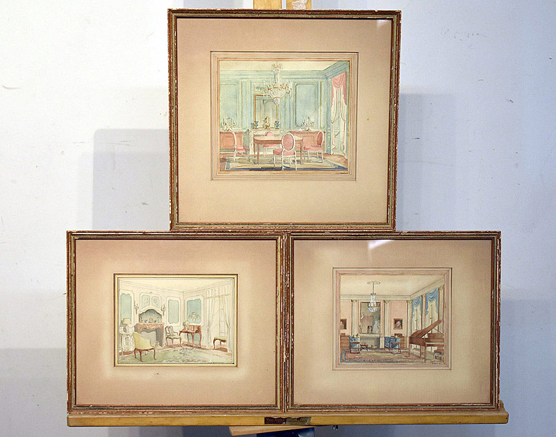 "686. 3 Watercolor Interior Scenes, signed by ""M.M. Goldsmith\"". 