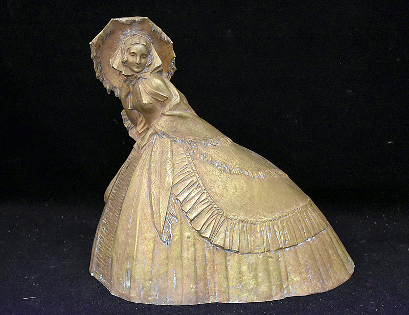 695. French Gilt Bronze Sculpture of a Woman. | $265.50