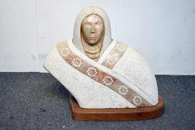 "696. Carved Marble Bust of Native American, signed ""Marven\"", \'85. 