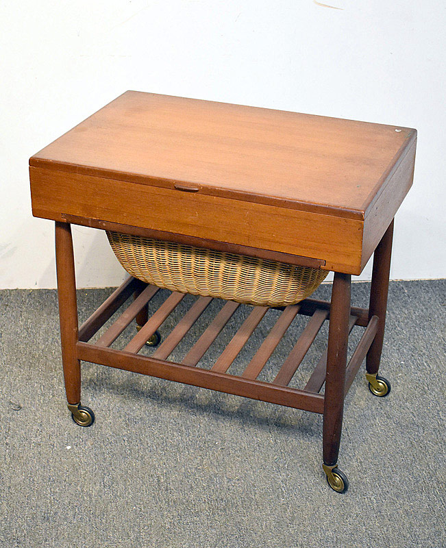 704. Danish Teak Sewing Stand. | $206.50