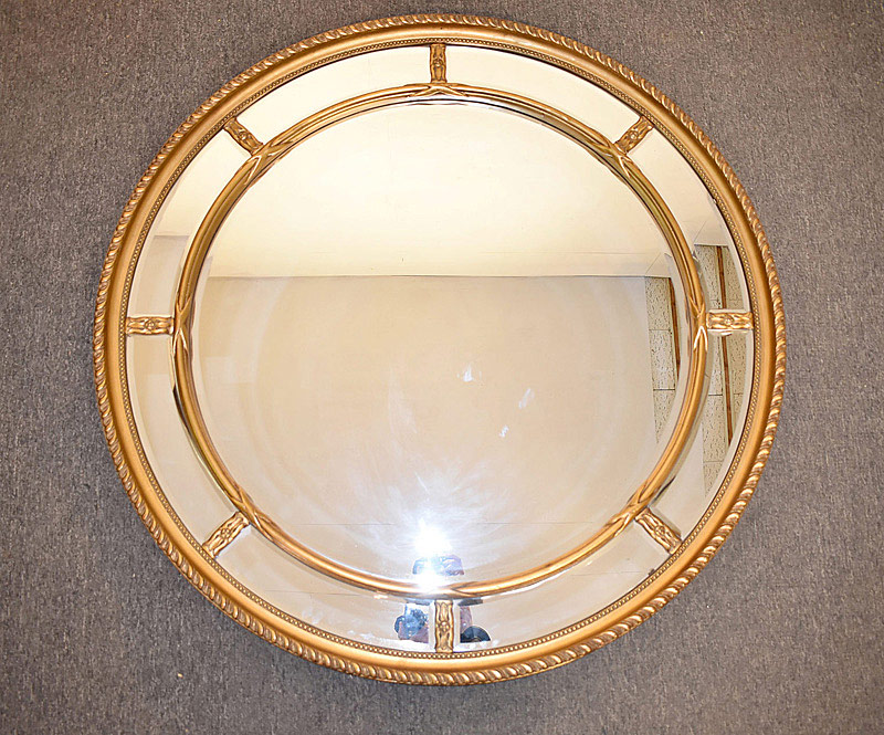 720. Gilt Circular Mirror with Beveled Glass. | $215.25