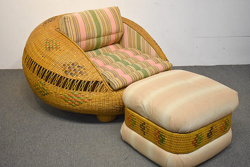 727. Midcentury Rattan Pod Chair With Ottoman. | $354
