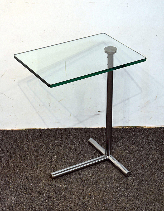 735. Dune Modernist Steel & Glass Barcelona-style Side Table. | $35.40