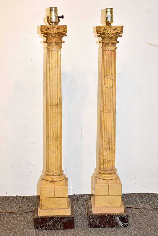 740. Pair of French Carved Column Table Lamps. | $3,936