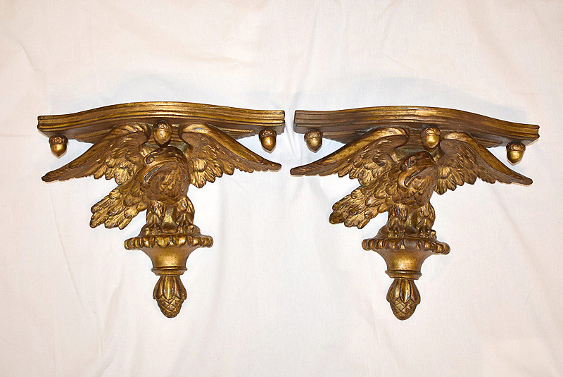 749. Pair of Federal-style Gilt Plaster Wall Brackets. | $123