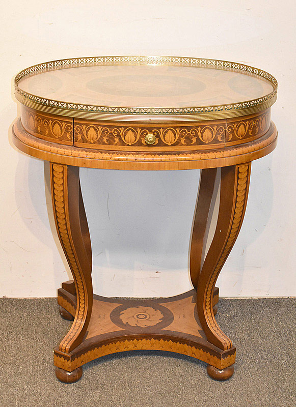 755. Italian Marquetry Inlaid Table. | $354