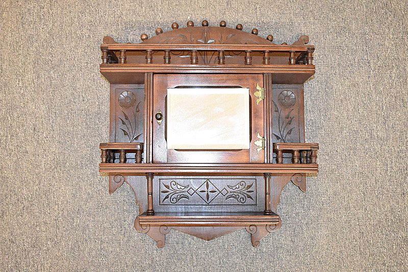 757. Victorian Carved Hanging Cabinet. | $73.80
