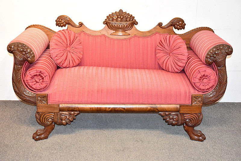758. 19th C. Classical Carved Mahogany Settee. | $553.50