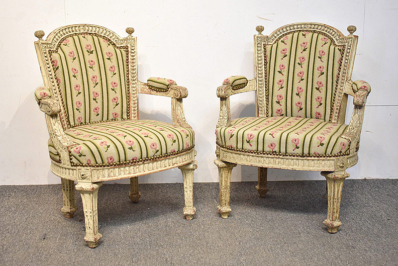 760. Pair of Louis XVI-style Child\'s Bergeres. | $560.50