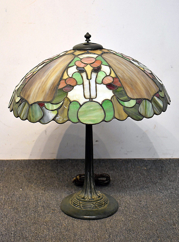 761. Tiffany-style Leaded Glass Table Lamp. | $2,006