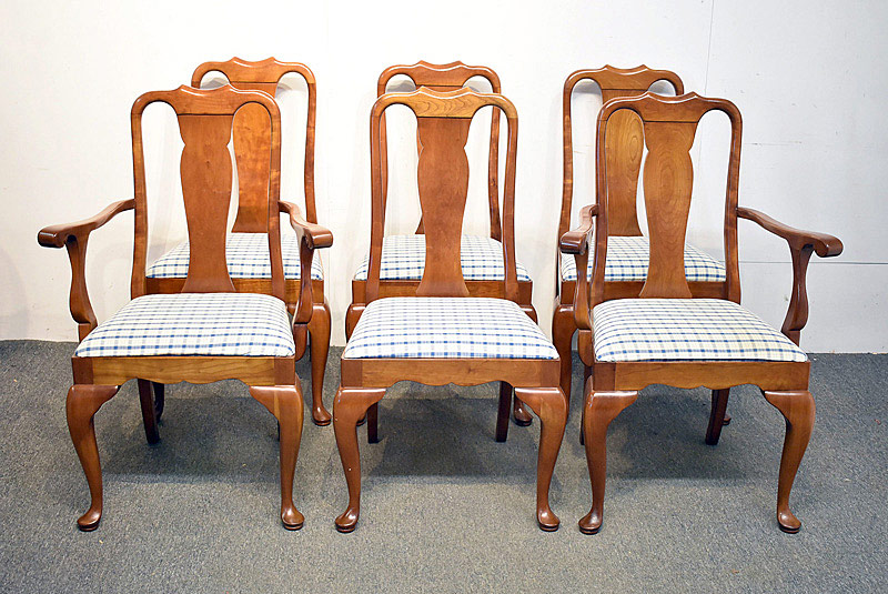 770. Six Stickley Cherry Queen Anne-style Dining Chairs. | $676.50