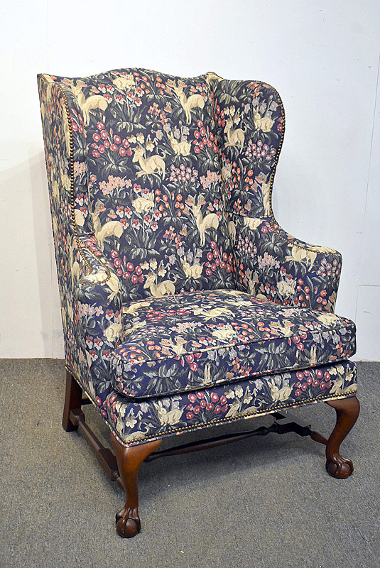 777. Baker Chippendale-style Mahogany Wing Chair. | $430.50