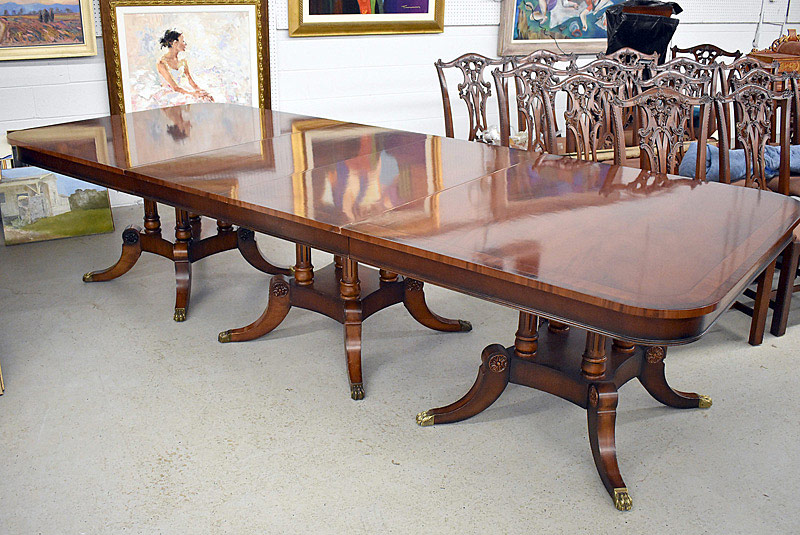 782. Henredon Banded Mahogany Dining Table. | $2,952