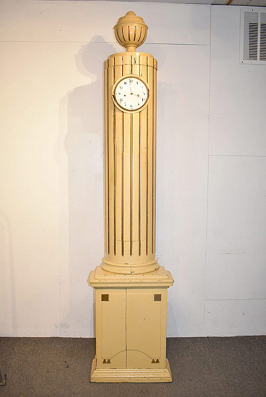785. Swedish Painted Column Form Tall Clock, 19th C. or earlier	. | $399.75