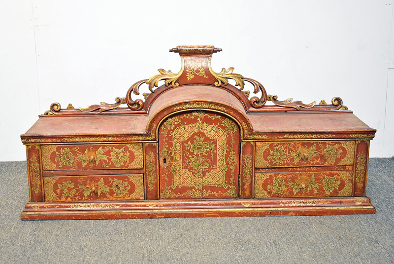801. Chinoiserie Red Lacquered Cabinet. | $153.75