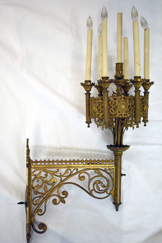 803. Gothic Revival Brass Wall Sconce. | $461.25