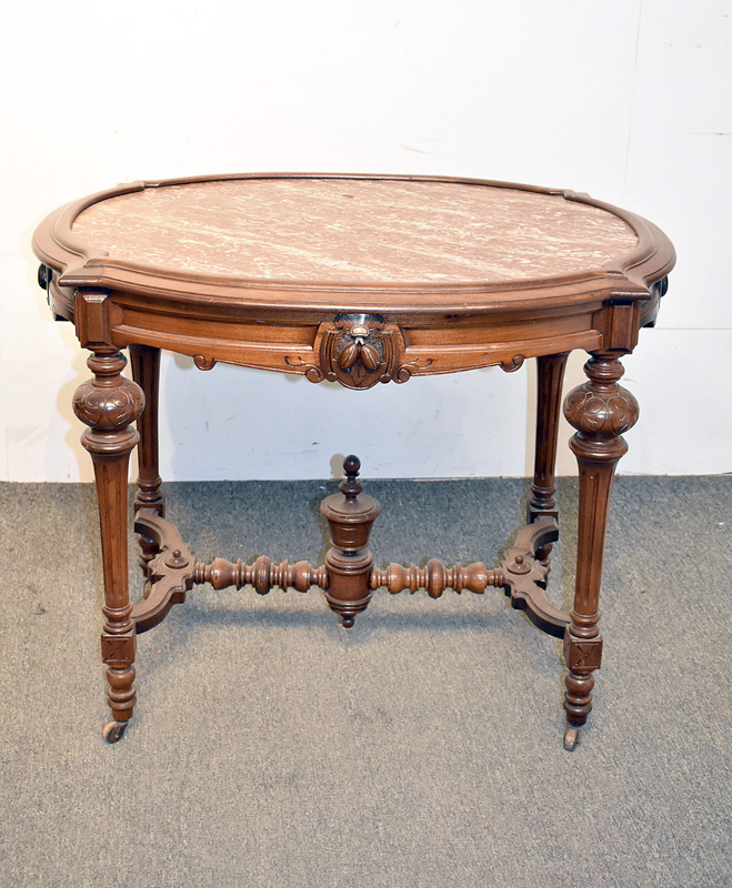 807. Victorian Marble Inset Parlor Table. | $215.25