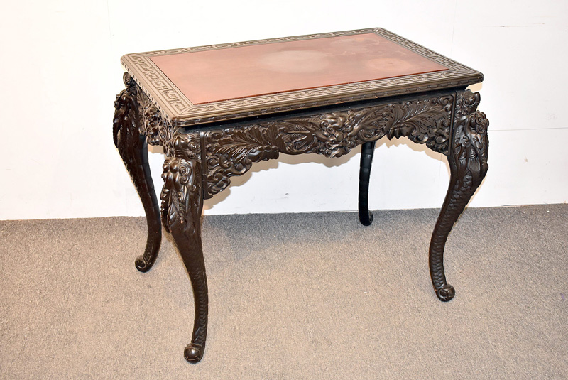 814. Chinese Carved Library Table. | $307.50