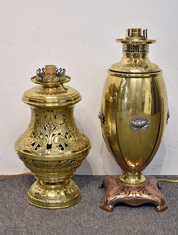 823. Two Brass Parlor Lamps. | $236