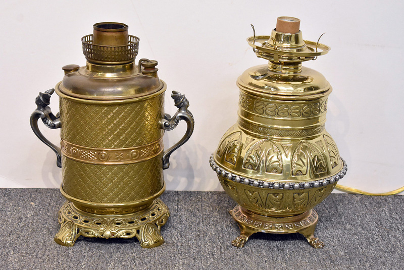 828. Two Victorian Brass Parlor Lamps. | $35.40