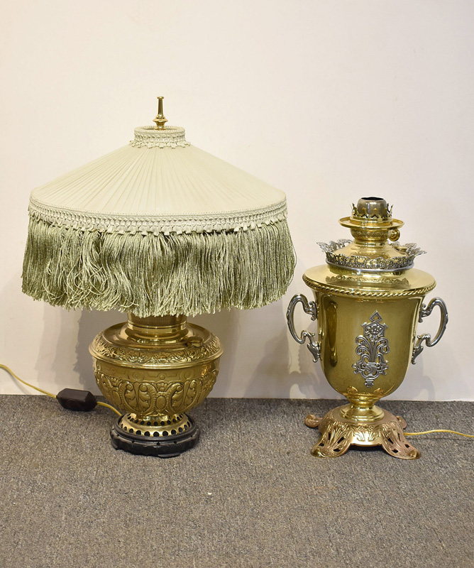 831. Two Brass Parlor Lamps. | $118