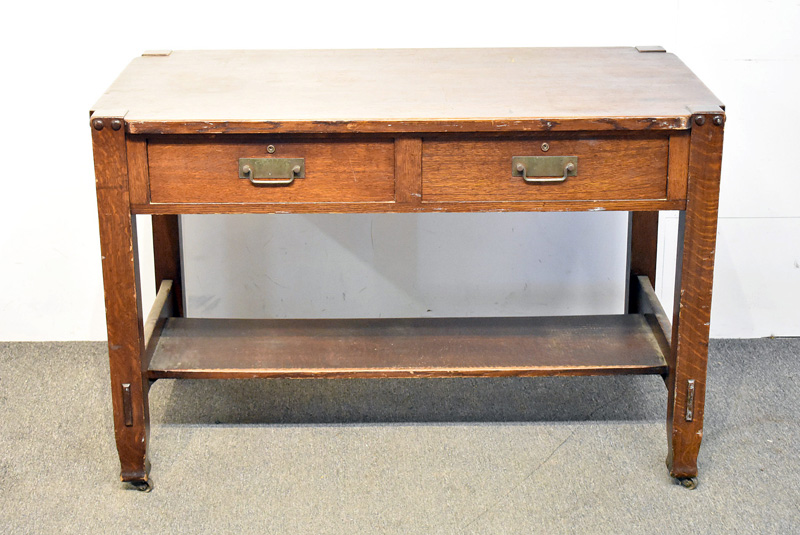 850. Arts & Crafts Oak Library Table/Desk. | $383.50