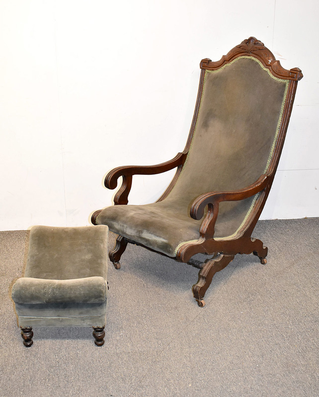 855. Victorian Sleepy Hollow Chair with Stool. | $29.50