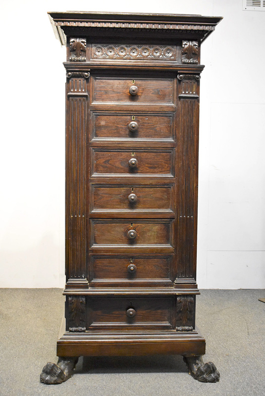 856. Italian Renaissance Revival Carved High Chest. | $369