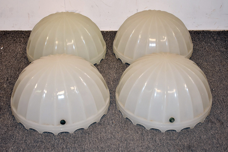863. Four Frosted and Molded Glass Dome Shades. | $246