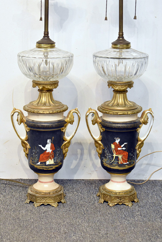 867. Pair of Paris Porcelain Urn-Form Table Lamps. | $184.50