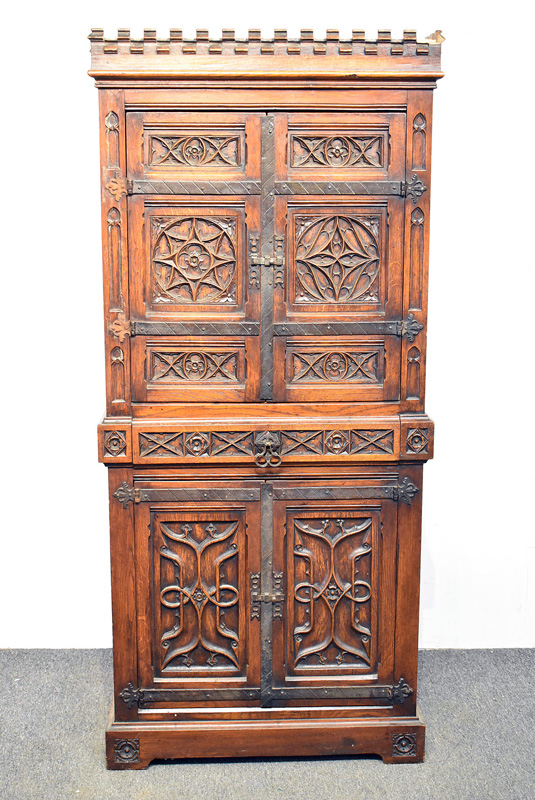 870. Late 19th C. Gothic-style Carved Oak Cabinet. | $369
