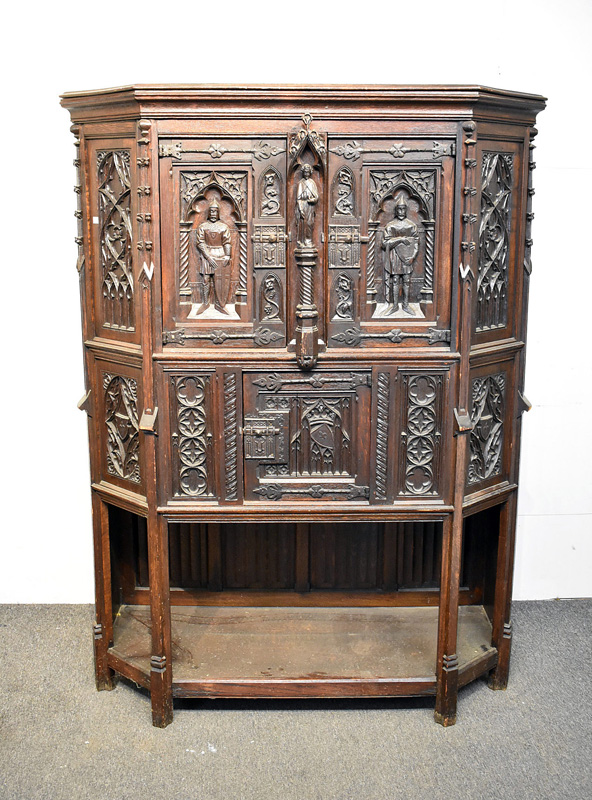 871. 29th C. Gothic-style Carved Oak Court Cupboard. | $1,845
