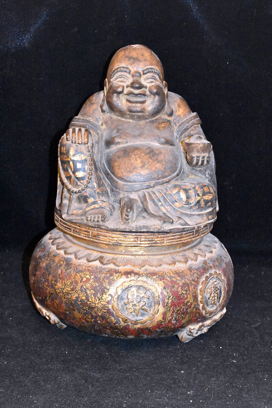 873. Chinese Lacquered Wood Buddha Box. | $59