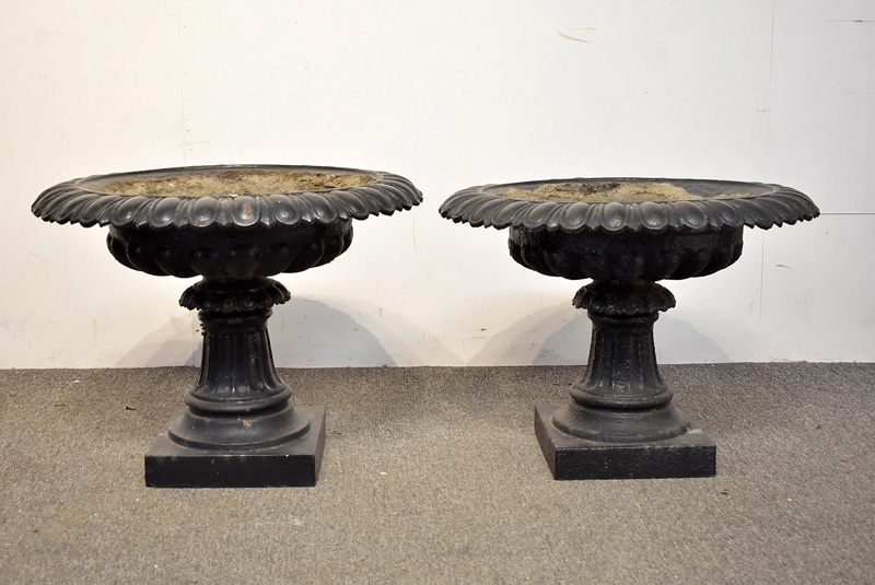 884. Pair of Cast Iron Garden Urns. | $492