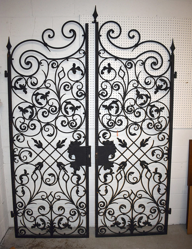 886A. Pair of Large Scrolled Iron Gates. | $826