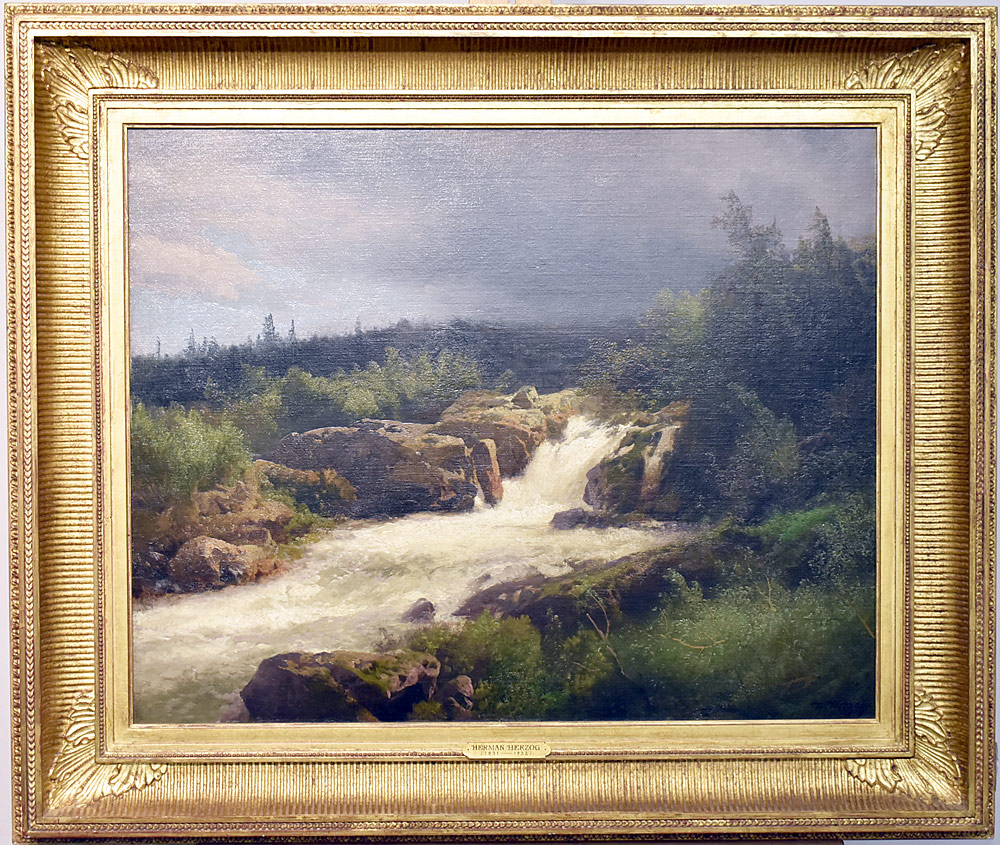 Herman Herzog Oil/Canvas, Waterfall Through Rocks. $9,440