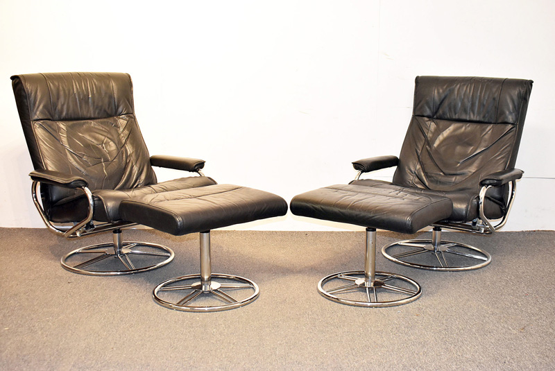5. Two Scandinavian Chrome & Leather Lounge Chairs |  $767