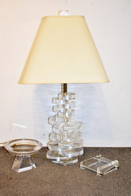 17D. Three-pc. 1970s Modern Lucite Grouping |  $59