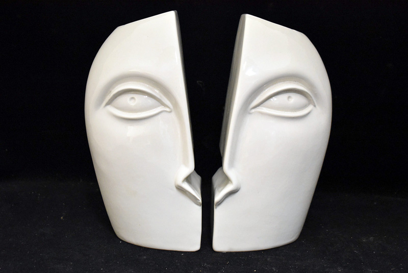 17E. Pair of Raymor Pottery Face Bookends |  $236