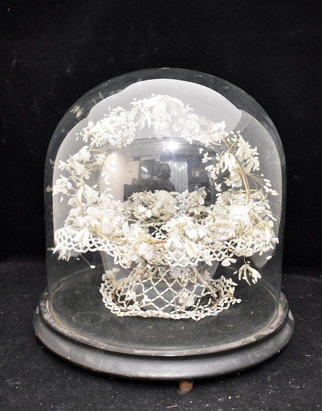 45. Beaded M.O.P  Shell Basket under Glass Dome |  $184.50
