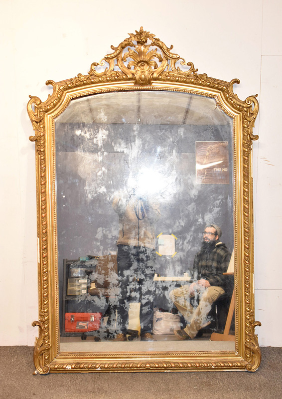87. Large French Gilt and Gesso Mirror |  $615