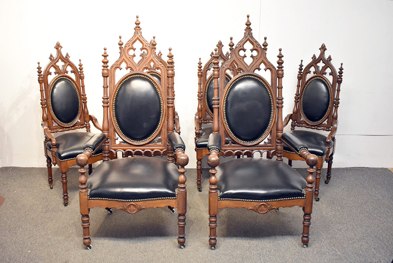 88. Six Gothic-style Carved Oak Dining Chairs |  $3,936