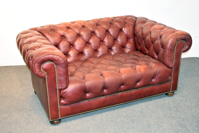 91. Chesterfield Burgundy Tufted Leather Loveseat |  $708