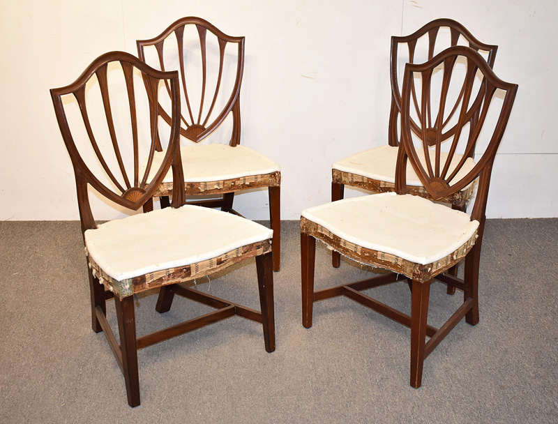 108. Four Federal Mahogany Shield-back Dining Chairs |  $236