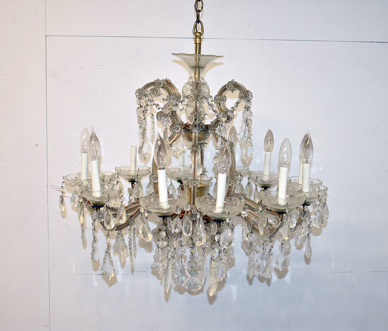 120. Glass Twelve-Arm Chandelier with Crystal Drops |  $324.50
