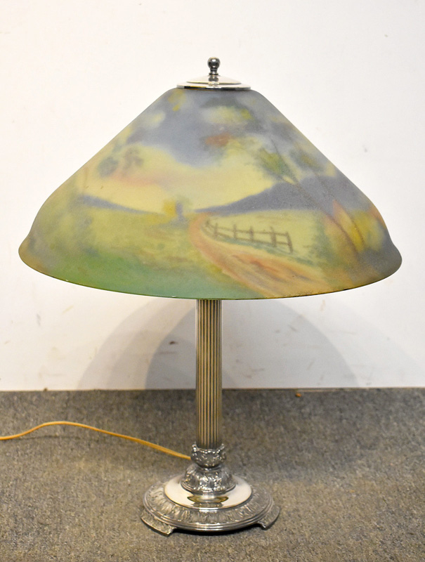 122. Pairpoint Lamp with Reverse-painted Glass Shade |  $944
