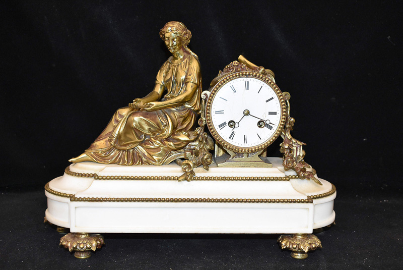 128. French Figural Gilt Bronze & Marble Mantel Clock |  $184.50