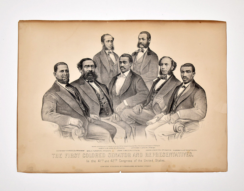 """137. Currier & Ives Broadsd, \""""First Colored Senator…\"""" 