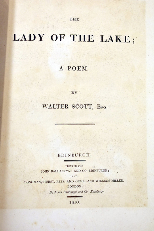 143. Sir Walter Scott. 1st Ed. The Lady of the Lake |  $206.50